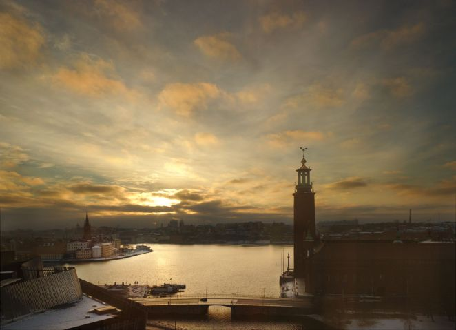 Stockholm City Hall and Riddarfjärden after sunrise on New Year's Eve