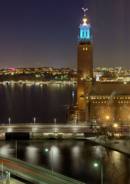 Stockholm City Hall and Riddarfjärden after sunset on New Year's Eve