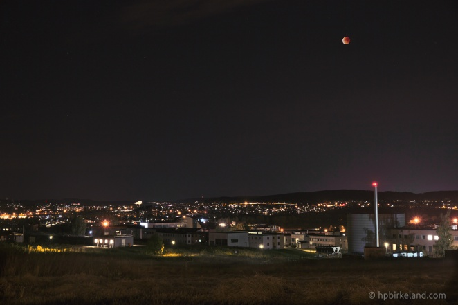 Blood moon above the Kjeller Nuclear Reactor.